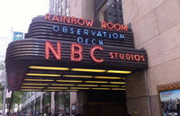 NBC marquee outside Rockefeller Plaza